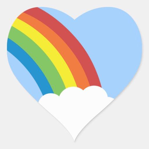 pegatinas en forma de corazón del arco iris retro calcomanías de corazones