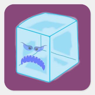 Pegatinas enojados del cubo de hielo pegatina cuadrada