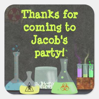Pegatinas enojados del fiesta del científico pegatina cuadrada