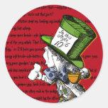 Pegatinas enojados del sombrerero etiquetas redondas