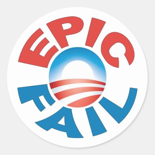Pegatinas épicos del fall de Anti-Obama Pegatinas Redondas