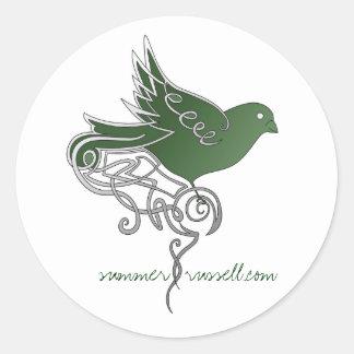 Pegatinas esmeralda del pájaro pegatina redonda