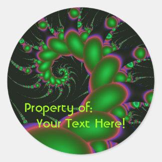 Pegatinas espirales de los topetones verdes pegatina redonda