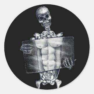 Pegatinas esqueléticos de la radiografía del pecho pegatina redonda