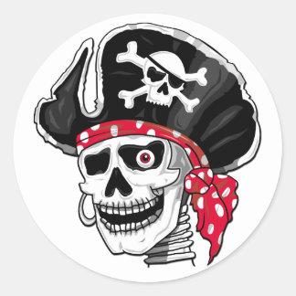 Pegatinas esqueléticos del pirata pegatina redonda