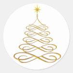 Pegatinas estilizados del árbol de navidad del oro etiqueta redonda