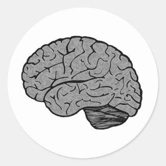 Pegatinas estilizados del cerebro etiquetas redondas