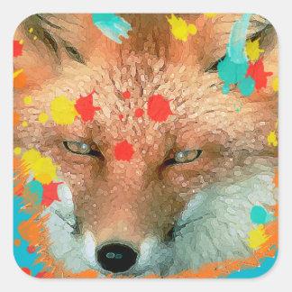 Pegatinas estilizados del Fox Pegatina Cuadrada