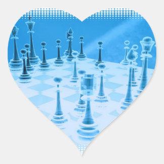 Pegatinas estratégicos del juego del ajedrez pegatina de corazón