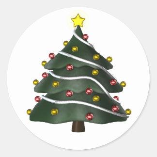 pegatinas Estrella-rematados del árbol de navidad Pegatina Redonda