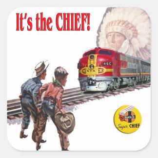 Pegatinas estupendos del tren de Santa Fe Pegatina Cuadrada