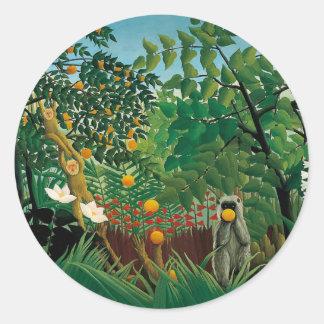 Pegatinas exóticos del paisaje de Henri Rousseau Etiquetas Redondas