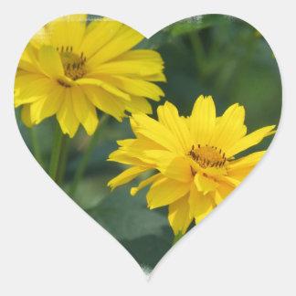 Pegatinas falsos amarillos de los girasoles calcomanías de corazones