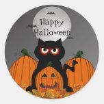 Pegatinas fantasmagóricos de Halloween del gatito Pegatina Redonda