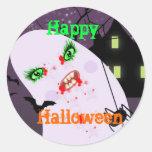 Pegatinas fantasmagóricos del fiesta de Halloween Etiquetas Redondas