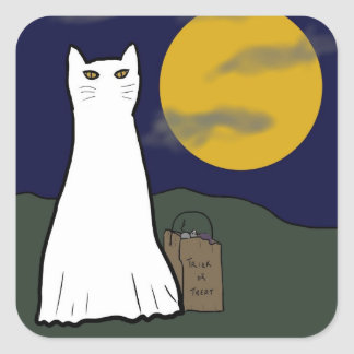 Pegatinas fantasmagóricos del gatito del truco o d