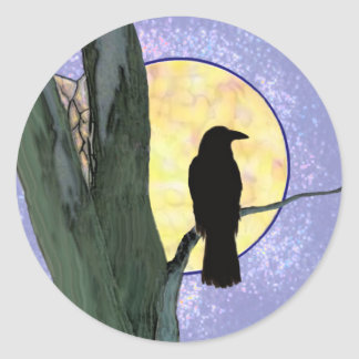 Pegatinas fantasmagóricos del protector del cuervo pegatina redonda