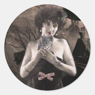 Pegatinas fantasmales del arte de la señora del pegatina redonda