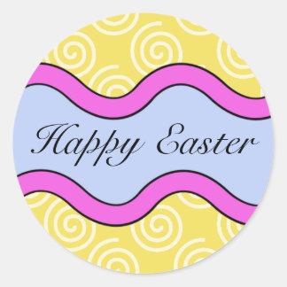 Pegatinas felices coloridos de Pascua Pegatina Redonda