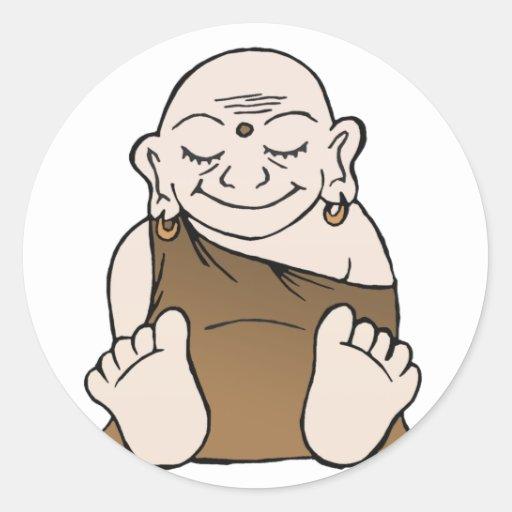 Pegatinas felices de Buda Etiqueta Redonda