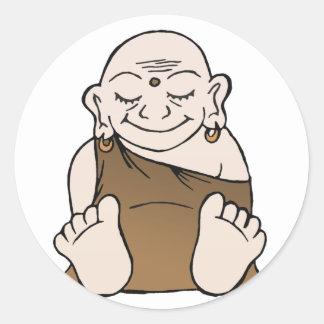 Pegatinas felices de Buda Pegatina Redonda