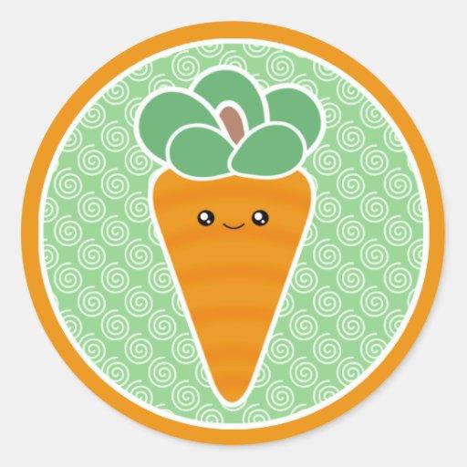 Pegatinas felices de Kawaii de la zanahoria Pegatina Redonda