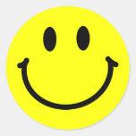 Pegatinas felices de la cara pegatina redonda