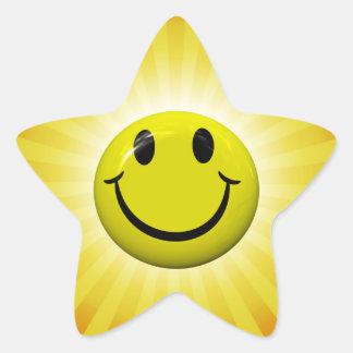 Pegatinas felices de la estrella del amarillo de calcomanía forma de estrella personalizadas