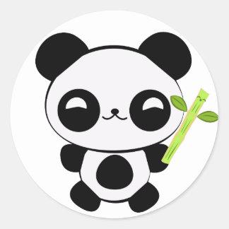 Pegatinas felices de la panda del bebé pegatina redonda