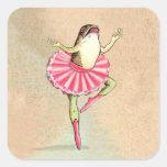 Pegatinas felices de la rana de la bailarina del calcomanías cuadradas