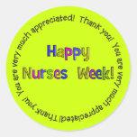 Pegatinas felices de la semana de las enfermeras etiqueta redonda