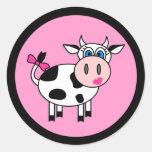 Pegatinas felices de la vaca del chica
