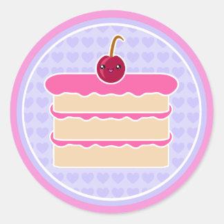 Pegatinas felices de las pilas de la torta de pegatina redonda