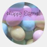 Pegatinas felices de los huevos de Pascua Pegatina Redonda