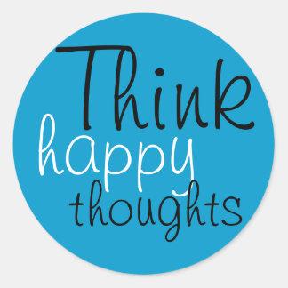 Pegatinas felices de los pensamientos pegatina redonda