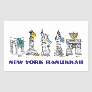 Pegatinas felices de New York City NYC Jánuca Pegatina Rectangular