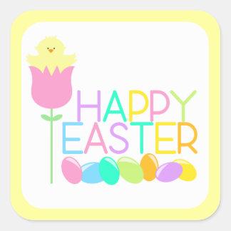 Pegatinas felices de Pascua del polluelo del Pegatina Cuadrada