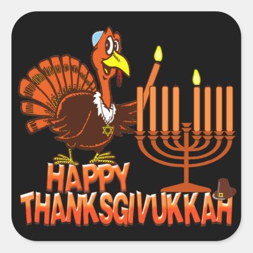 Pegatinas felices de Thanksgivukkah Calcomanías Cuadradass Personalizadas