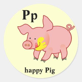 Pegatinas felices del cerdo de la letra P Pegatina Redonda