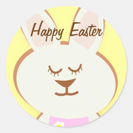 Pegatinas felices del conejito del chica de Pascua Pegatinas Redondas
