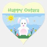 Pegatinas felices del corazón del conejo de pegatina de corazón