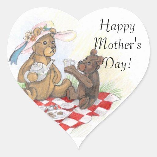 Pegatinas felices del día de madre de Picnic~ del Calcomanía Corazón