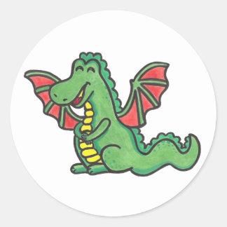 Pegatinas felices del dragón pegatina redonda