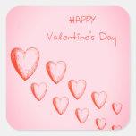 Pegatinas felices del el día de San Valentín Pegatina Cuadrada
