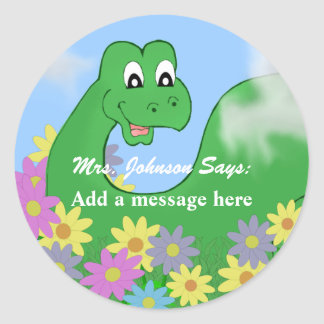 Pegatinas felices del mensaje del dinosaurio pegatina redonda
