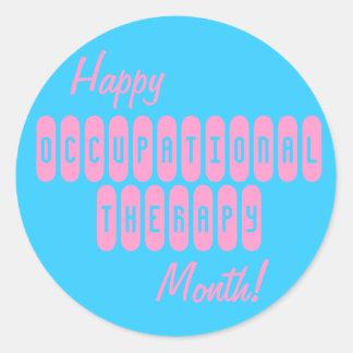 Pegatinas felices del mes de la terapia pegatina redonda