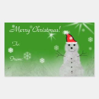 Pegatinas felices del muñeco de nieve rectangular altavoz