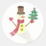 Pegatinas felices del muñeco de nieve pegatina redonda