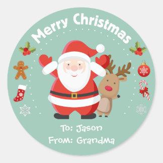 Pegatinas felices del navidad de Santa y de Pegatina Redonda
