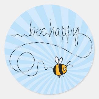 pegatinas felices del rastro de la abeja pegatina redonda